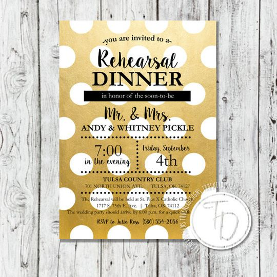 Gold polka dot rehearsal dinner invitation by Trusner Designs, LLC