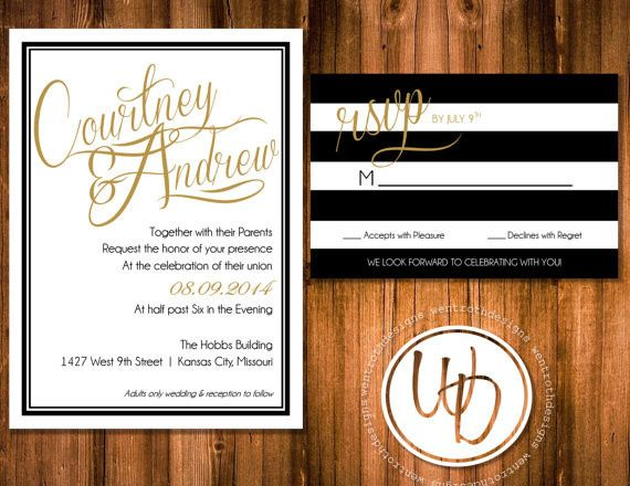 Modern black, white and gold striped wedding suite by Trusner Designs, LLC.