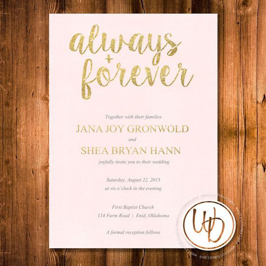 Blush and gold glitter wedding invitation by Trusner Designs, LLC