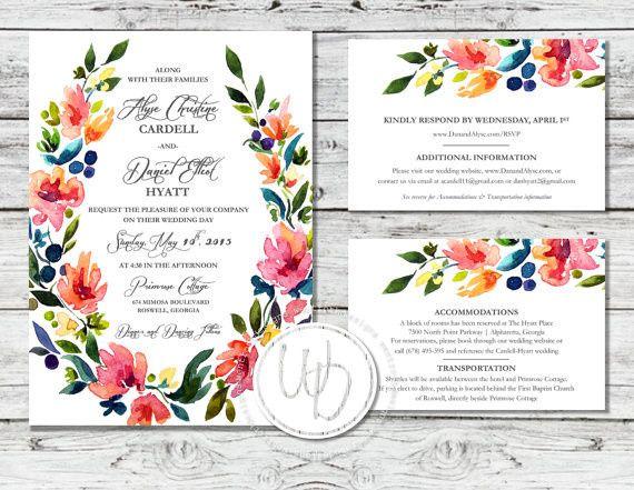 Watercolor floral wedding invitation suite by Trusner Designs, LLC