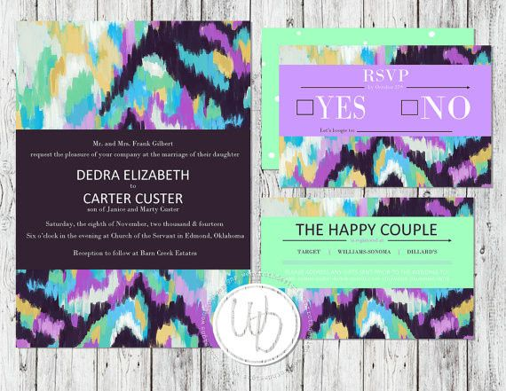 Aztec abstract watercolor wedding invitation suite by Trusner Designs, LLC