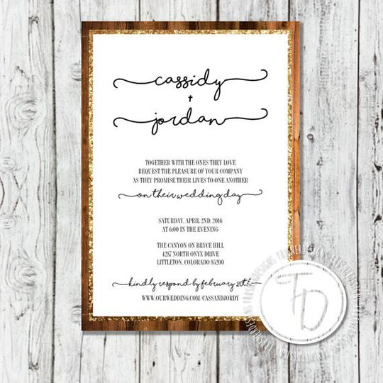 Wood and gold glitter wedding invitation by Trusner Designs, LLC