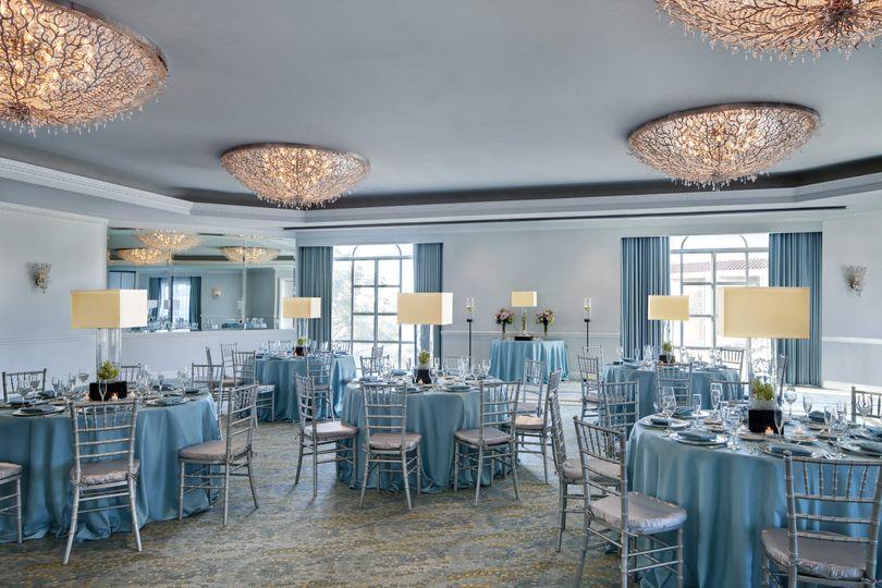 Blush blue table cloths