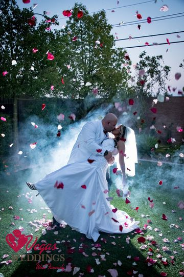 Couple photo with rose petals