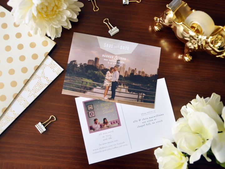 Tmx 1452103776637 Hannahjohnsavethedates Chapel Hill wedding invitation