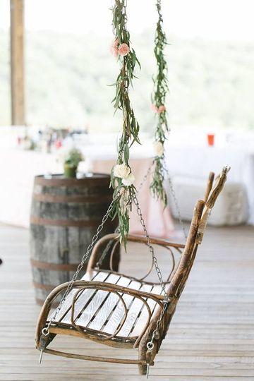 Beautiful wooden swing