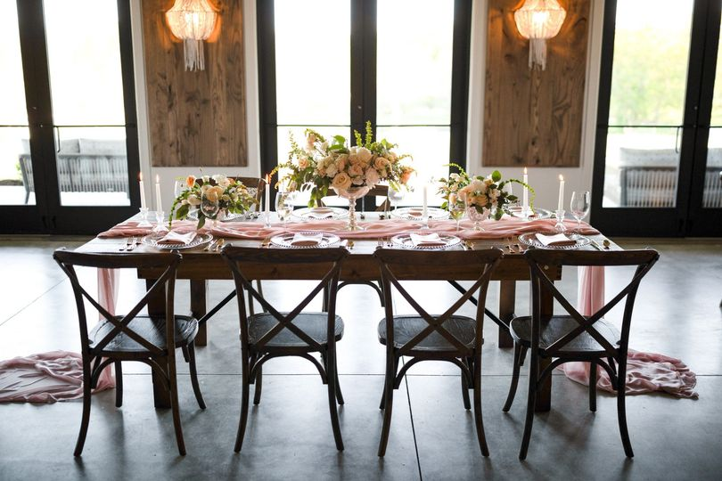 Cross-back farm chairs &tables