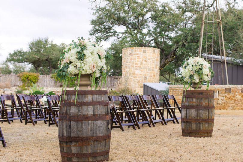 Outdoor rustic wedding setup