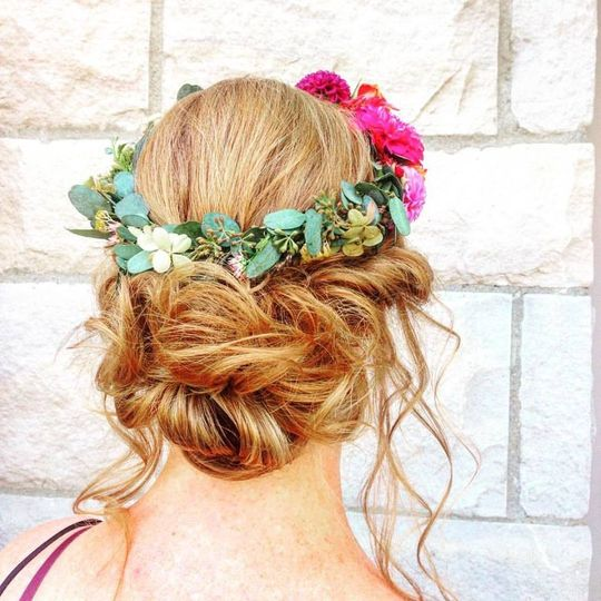 Messy bun with vine crown