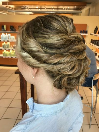 Left side of the braided updo
