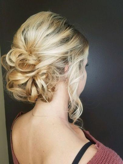 Curly low bun