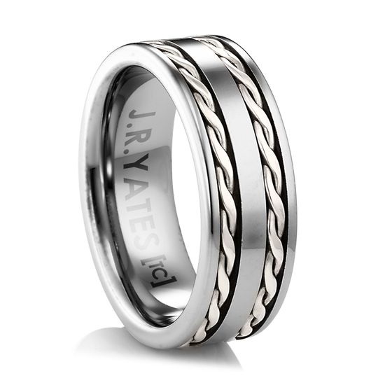 Tungsten Ring with two braids of sterling silver Inspired from the old West.  A substantial...
