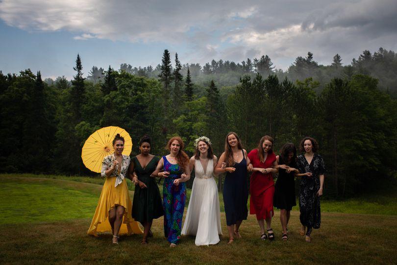 Bridesmaids in the mist