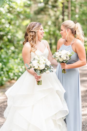 The bride and the bridesmaid