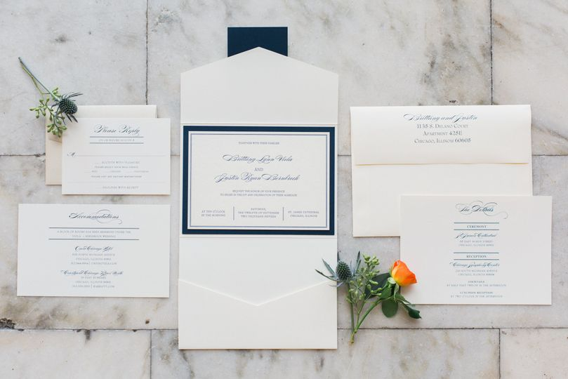 White invitation with blue border