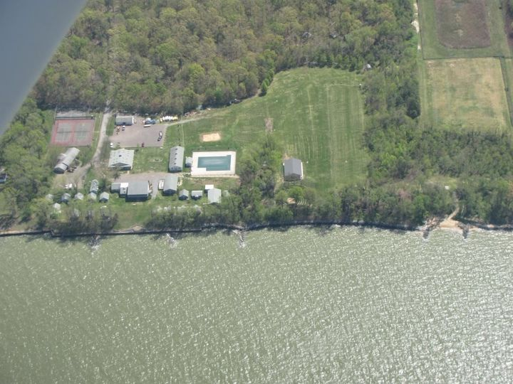 Aerial photo of Camp Wright and it's waterfront facilities