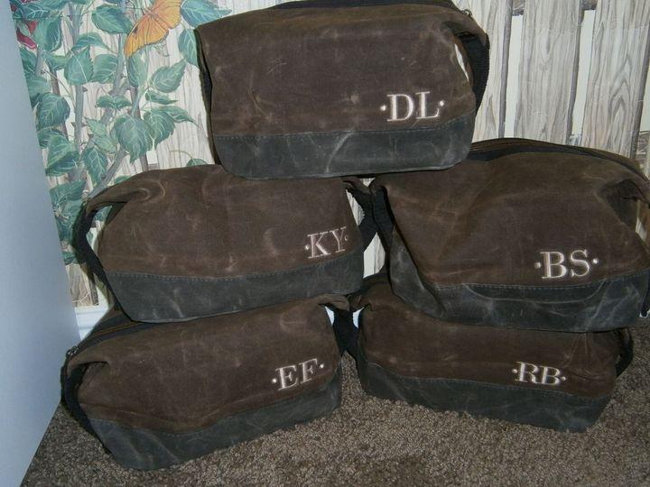 Monogrammed waxed canvas dopp kits