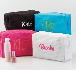 Personalized waffle weave makeup bags