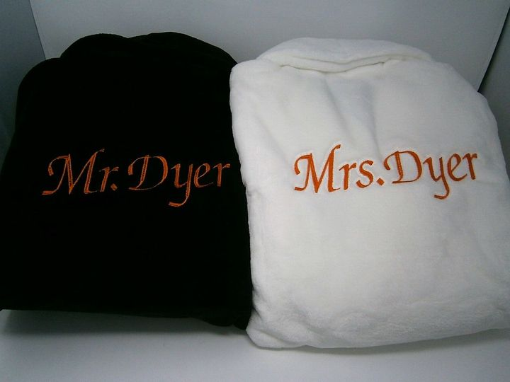 Personalized bride and groom robes
