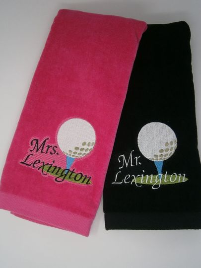 Personalized his and hers golf towels