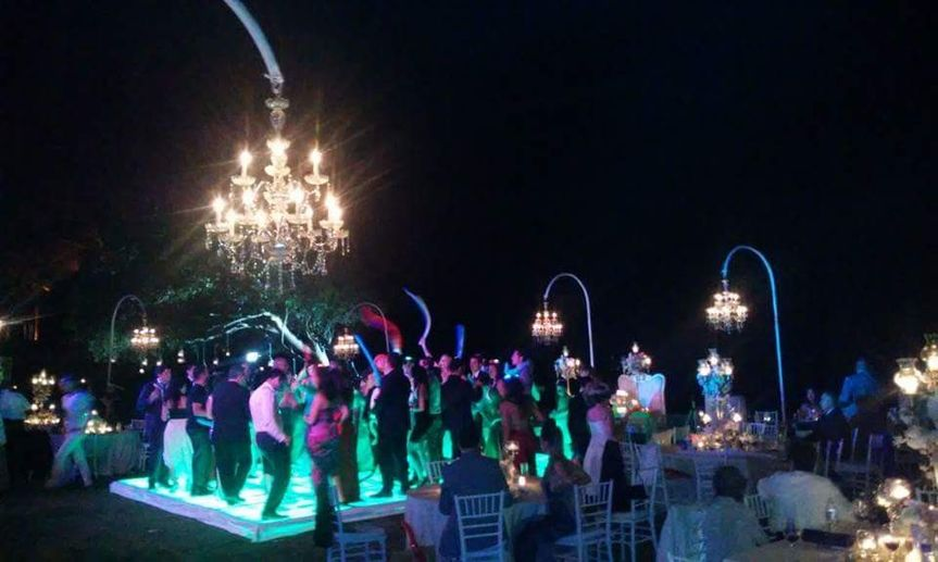 Illuminated Dance Floor, chandelier , DJ and a lot of Party