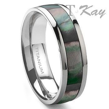 Titanium mother of pearl wedding band ring