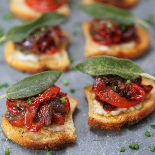 Caramelized onion & pepper on crostini