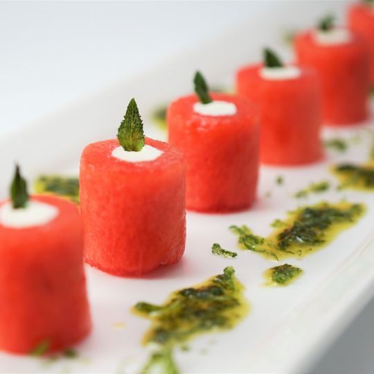 Watermelon with feta, mint, & lime