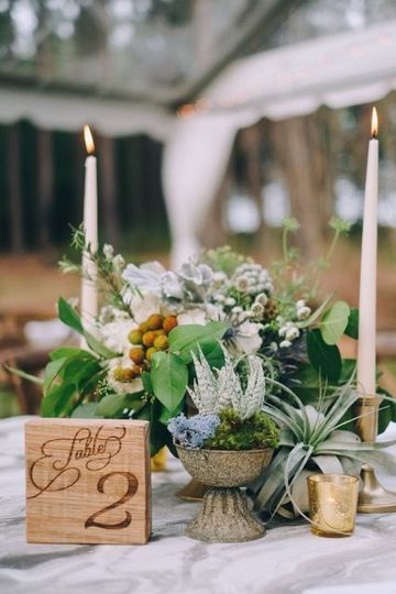 Beautifully textured table arrangement