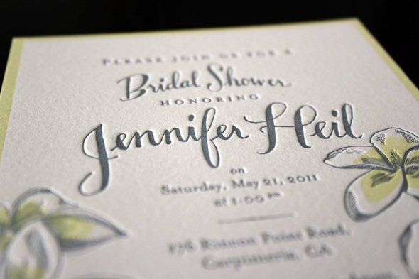 A two color Bridal Shower Invite by Ladyfingers Letterpress!