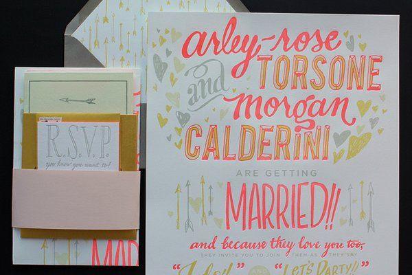 Neon Wedding invitations by Ladyfingers Letterpress!