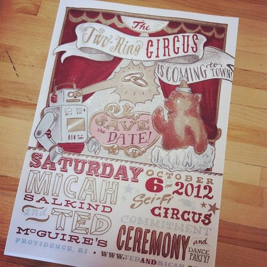 A large, 4-color Save the Date poster by Ladyfingers Letterpress!