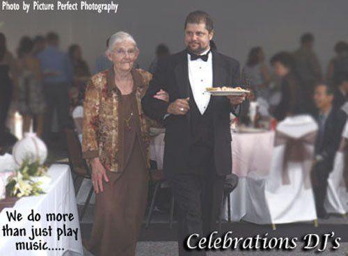 Celebrations DJ's of Cocoa Beach, FL. DJ Joe Redmond helping grandmother to her seat, with wedding...