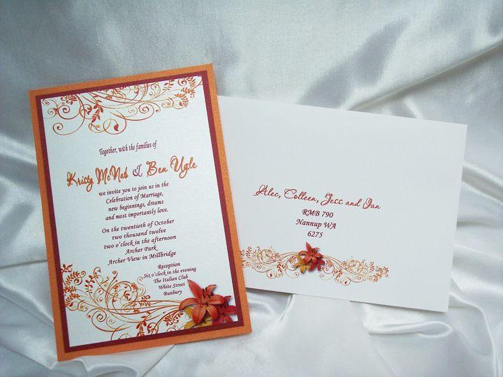 orange red lily invite envelope