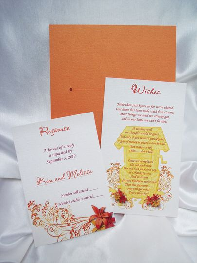 orange red lily invite response wishes card