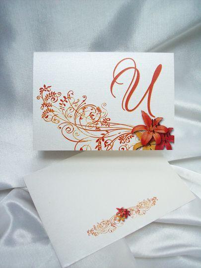 orange red lily invite thankyou