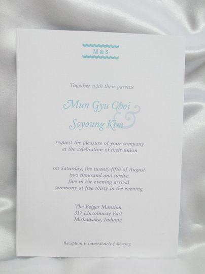 sided wedding invite white turquoise