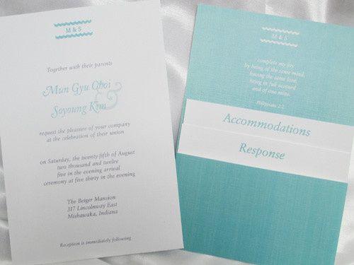 sided wedding invite white turquoisfrontback