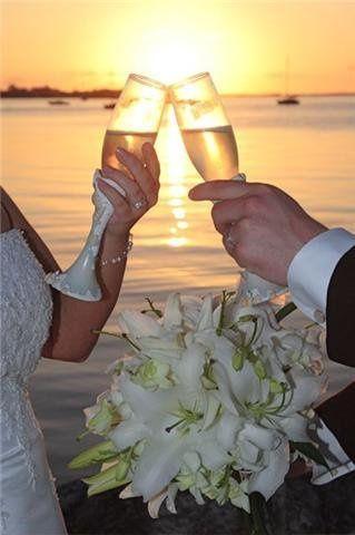 Key Largo sunset beach champagne wedding toast