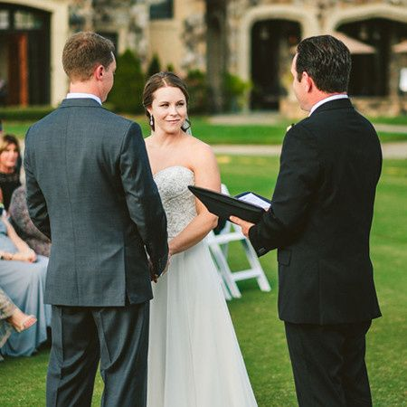 Officiant conducting a marriage ceremony