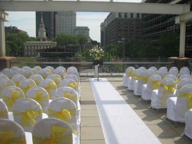 Wedding ceremony yellow set-up