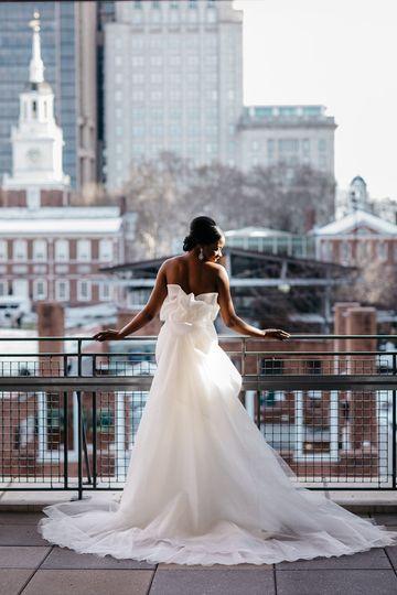 Bride over terrace
