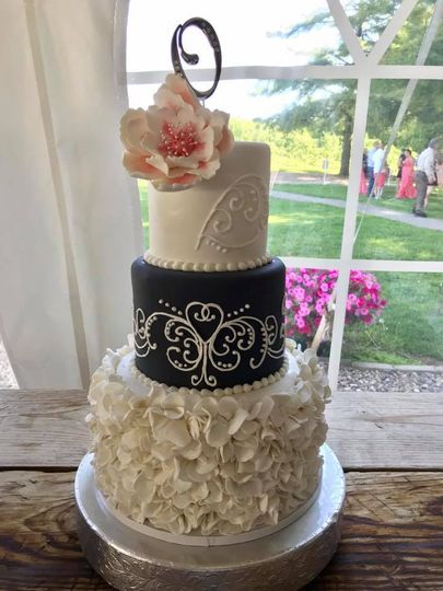 Coral & Grey cake w/ruffles