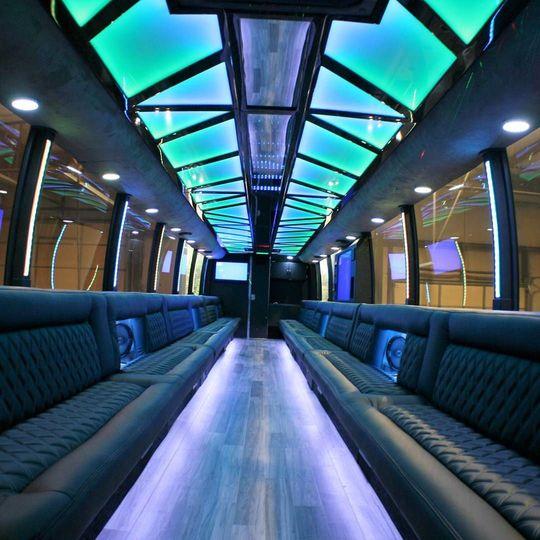 'Tuxedo' Limo Bus interior