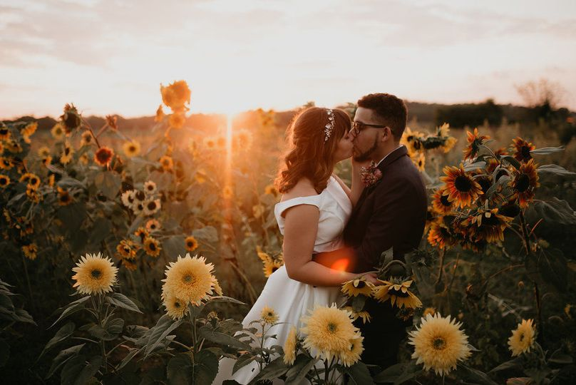 Love in a field of sunflowers for Oakleigh and Raf.