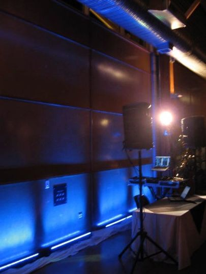 Puyallup Pavillion's back wall in blue. I used a few 8080 Omni Sistem lcd. Yes thats the way they...
