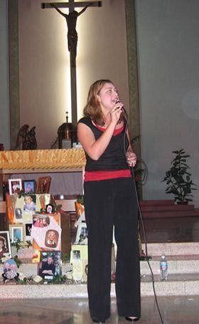 Mary singing at Most Holy Trinity, Phoenix Arizona