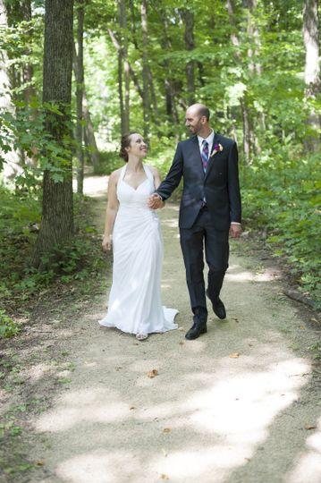Strolling newlyweds