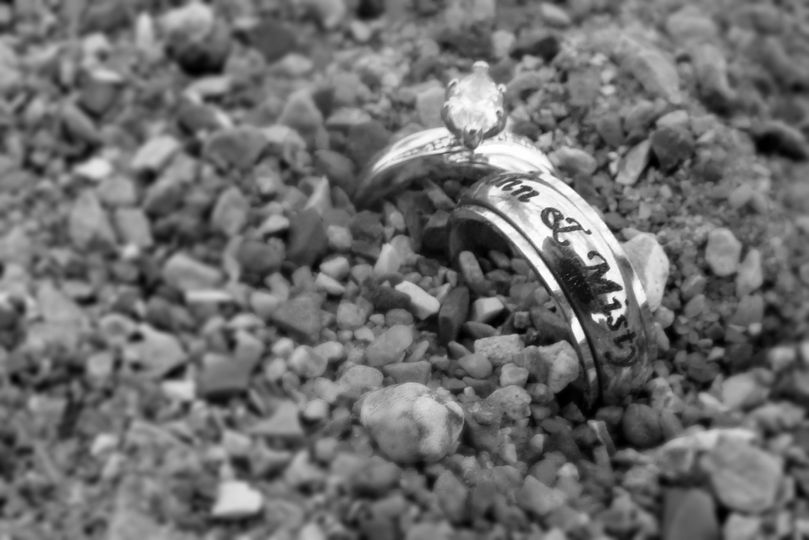 Bride and Groom's wedding rings in the rocks at the beach