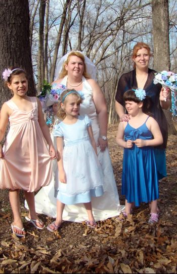 Bridal party:  Flower girls, ring bearer and maid of honor with bride